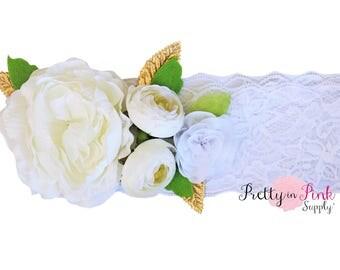 Ivory Lace Headband Kit #441-Headband, Baby Shower, Shabby Flowers - Headband Kit- Girls Flower Crown