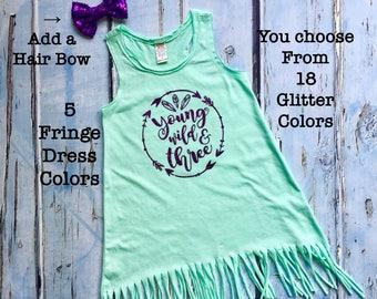 Young, Wild & Three, Girls First Birthday, Birthday Dress, Birthday Outfit, Birthday Shirt, Birthday Party, Wild One, Birthday Girl Dress
