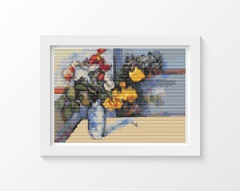 Cross Stitch Kit, Still Life MINI Cross Stitch, Embroidery Kit, Floral Cross Stitch, Art Cross Stitch, Paul Cezanne (TAS133)