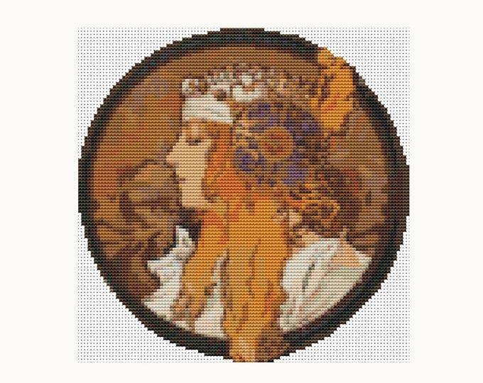 CIRCULAR Cross Stitch Pattern PDF, Embroidery Chart, Art Cross Stitch, The Blonde by Alphonse Mucha (C011)