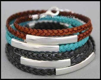 LEATHER Wrap Bracelet - Flat Braided Genuine Natural Leather Cord Large Silver TUBES - Adjustable Double Triple Boho Wrap Bangle Bracelet