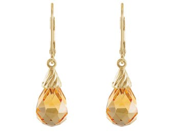 Gorgeous 8.6ctw Briolette Cut Genuine Citrine & 14k Gold Earrings November Birthstone Citrine Earrings Jewelry Gift Mom Wife Fiancé Daughter