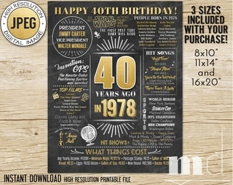 40th Birthday Gift Chalkboard Poster, 40 Years Old, Born in 1978,  40th Birthday Gift Ideas, Adult Chalkboard Stats DIGITAL INSTANT DOWNLOAD