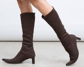 Brown Tall Boots, Brown Sock Shoes, 90s High Heels, Pointy Toe Shoes, Size 40 Heels, Big Size Heels
