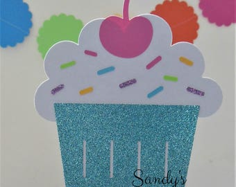 Cupcake Smash Cake Topper - Centerpiece Stick - Cupcake with Sprinkles - Glitter Purple, Aqua, Candy Pink, Yellow, Lime Green