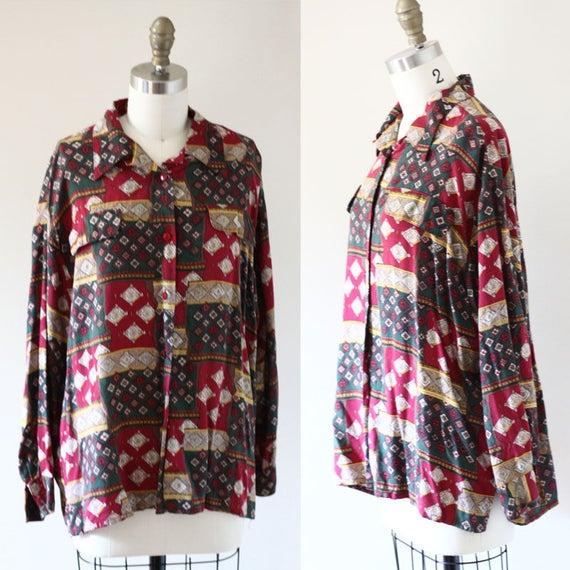 1980s Patchwork Blouse // 1980s Eatons blouse // vintage top