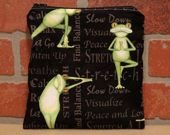 One Sandwich Bag, Yoga Frogs, Reusable Lunch Bags, Waste-Free Lunch, Machine Washable, Sandwich Sacks, item #SS76