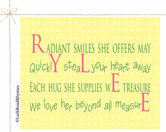 Girl Bedroom Decorations Kids Room Wall Decor Custom Name Print Kids Art Name Art Girl Prints Girl Quotes Kids Personalized Poem 8x10 Rylee