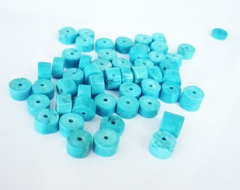 20 8mm turquoise colored Howlite stones