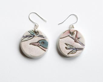 Porcelain Bird Earrings, china ceramic and glaze with sterling silver