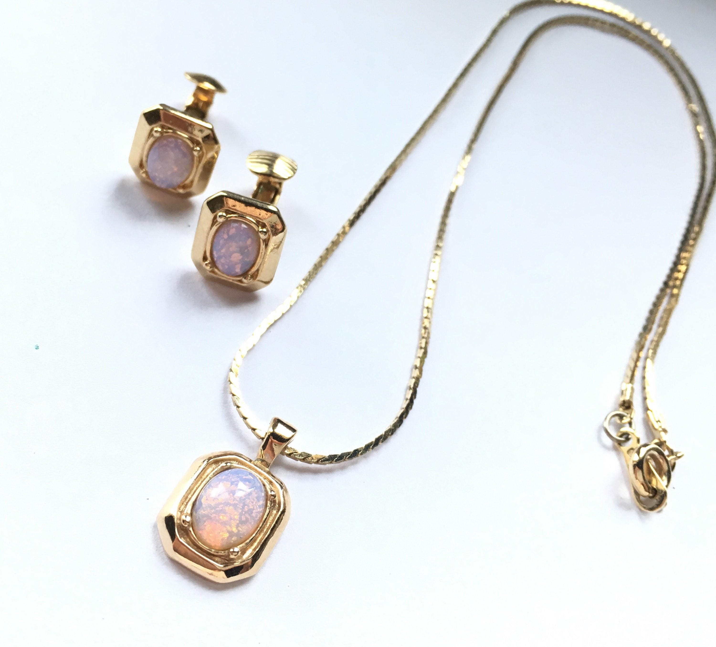 Collectible Avon Jewelry Set Rare Necklace Earrings Vintage