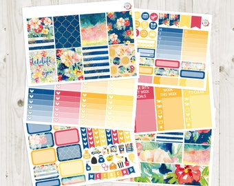 Navy Floral Vertical Weekly Kit - ECLP Stickers