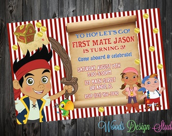 Personalized // Custom // Jake and the Neverland Pirates Birthday Party Invitations  // DIY Printable File