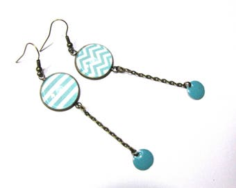 Earrings cabochon turquoise stripes, sequins