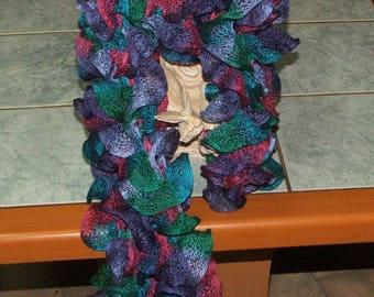 Handmade ruffle scarf col.176 (green, red purple blue)