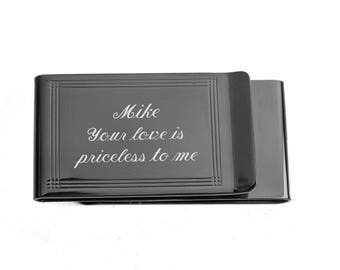 Engraved Money Clip, Personalized Money Clip, Money Clip, Double Sided Gunmetal Money Clip & Credit Card Holder, Custom Engraved Free
