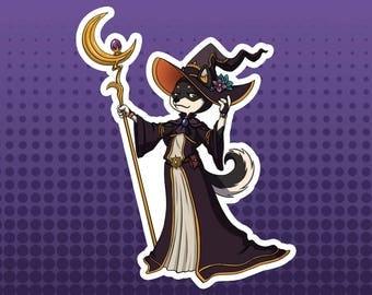 Black Mage - Shiba Inu Dog Fantasy Role Playing RPG Class - Large Die Cut Vinyl  Sticker, Original Sticker, Original Design