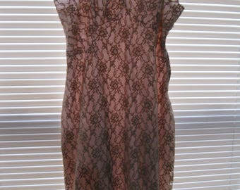 50's Full Brown & Pink Lace Covered Slip Dress - Size 36