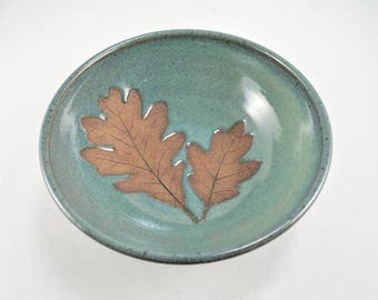 Pottery Leaf Bowl with Oak Leaf Imprints Wheel Thrown Stoneware Pottery Leaves Home Decor