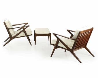 "Pair of Poul Jensen for Selig Danish Modern ""Z"" Lounge Chairs with Ottoman"