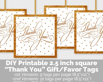 Gold Thank You Favor Tags, Printable Thank You Gift Tags, Gold Party Favor Tags, Bridal Baby Shower Birthday Party Decor, Digital File PP8