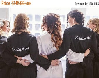 ON SALE Set of 5 Personalized Bridesmaid Robes with Titles, Custom Bridal Party Robes for Getting Ready, Wedding Robe with Titles Package fo