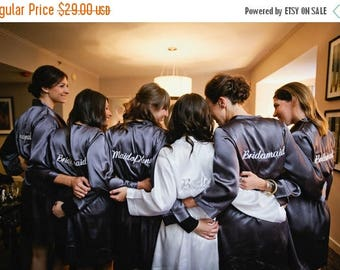 ON SALE Embroidered Robe for Getting Ready, Bridal Party Robe, Bridesmaid Robe, Mother of the Bride Satin Robe or Bridesmaid Gifts - Wedding
