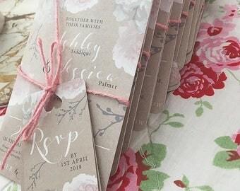 Vintage Peony rustic Wedding Invitation Suite Digital Printable