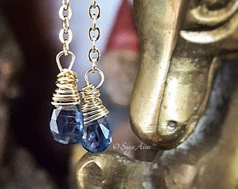 SageAine : Blue Kyanite Gemstone Gold Earrings,  Auric Shield, Reiki Charged, Crystal Healing, Gift for her