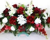 XL Beautiful Burgundy Roses With Hydrangea Tombstone Saddle Arrangement