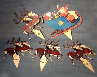 Santa Sleigh and 8 Reindeer -  Yard Stakes Christmas Ornaments - Holiday Display - Hard Plastic