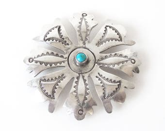 Navajo Sterling Silver Brooch Set With Turquoise