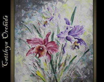 "4th of July sale Original Impasto Modern Art  Painting on  Gallery wrapped Canvas 24"" x 30"", Home Decor, Wall Art ---Cattleya Orchid---"