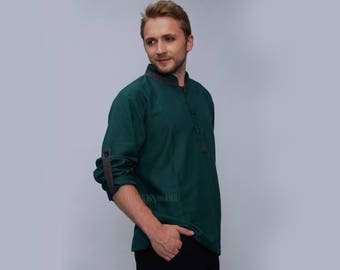 Mens shirt - Half Button shirt - loose fit men's shirt - Long sleeve t-shirt - sweat - Emerald