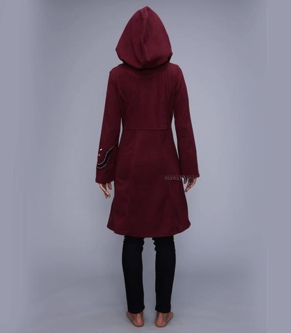 Long fleece coat Psy Long Jacket Boho Long hoodie
