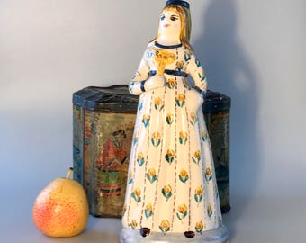 Wonderful ceramic figure of a woman candle holder made in Portugal