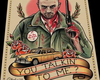 Taxi Drive Travis Bickle Tattoo Art Flash Print