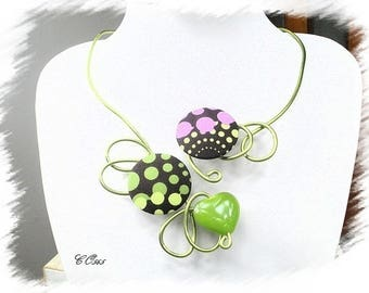 Green and purple aluminum necklace * CO565