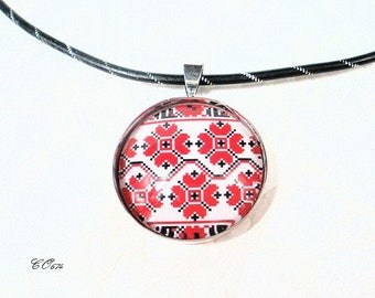 aluminum Choker necklace adjustable red snowflake CO674