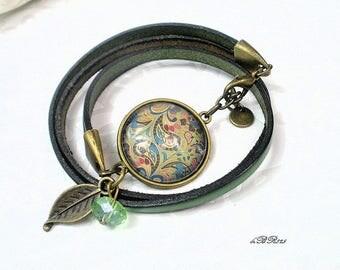 Green Khaki leather unique adjustable BR825 bracelet