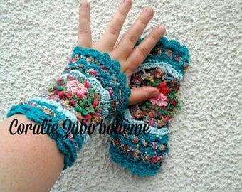 Gants mitaines au crochet-gants femme-mitaines originales en laine, coton  et lin b472dd5b26d