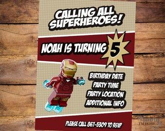 Lego Iron Man invitation, Lego Avengers custom invitation