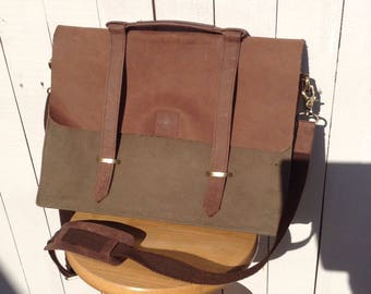 Messenger Bag, Valise, Canvas and Leather