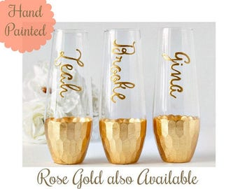 Personalized Stemless Champagne Flutes, Personalized Bridesmaid Gifts, Stemless Champagne Flutes, Bridesmaid Proposal Box, Bridesmaid Gift