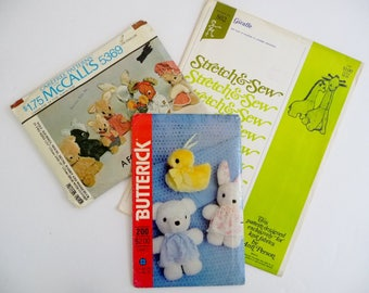Vintage LOT Stuffed Animal Sewing Patterns, Giraffe Stretch & Sew 802, Rabbit Duck Butterick 200, Wolf Skunk Squirrel Woodchuck McCalls 5369