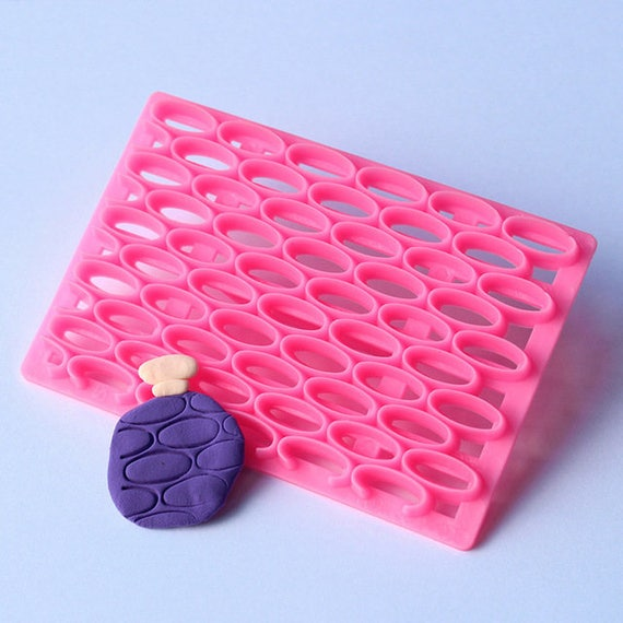 Stacked ovals, plastic imprint stamp texture is for polymer clay, Mokume stamp, cookies, fondant cake decorating
