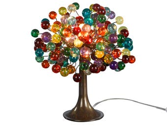 Multicolored bubble Table lamp with metal wires, unique table lamp, colorful bubbles light for desk or bedside table.