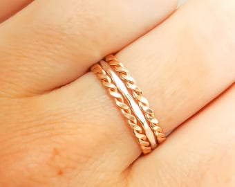 Stackable Rings- 14K Rose Gold Filled and Sterling Silver - Set of 3