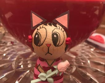 Kawaii Wooden Kokeshi Little Ms. S. Kitty