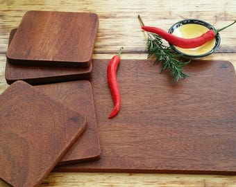 Bespoke Recycled Brazilian Mahogany Tappas board and 4 plates, cheese board, entree board, serving platter